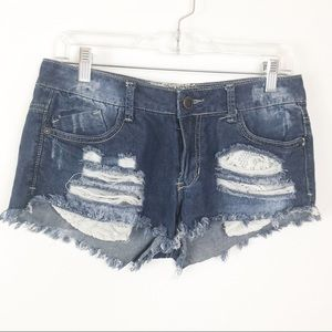 Hot Kiss Cici Shorts Blue Denim Detroyed Lace 5